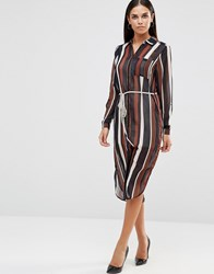 Ax Paris Midi Shirt Dress In Stripe With Tie Waist Multi