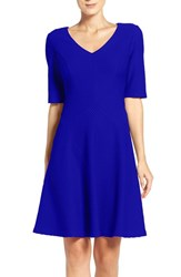 London Times Women's Honeycomb Knit Fit And Flare Dress