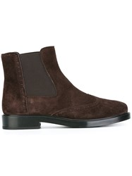 Tod's Quarter Brogue Chelsea Boots Brown