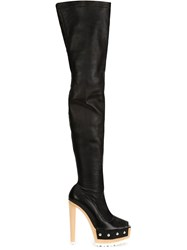 Vera Wang Open Toe Thigh Length Booties Black