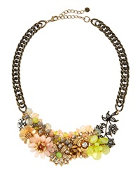 Lydell Nyc Floral Bib Necklace W Textured Chain Multicolor Golden