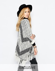 Sunshine Soul Boho Oversized Poncho Jumper With Zig Zag Lightweight Knit And Tassel Details Grey