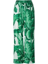Dolce And Gabbana Banana Leaf Print Twill Pyjama Pants Green