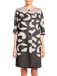 Escada Abstract Print Knit Coat Pewter Black