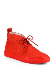 Del Toro Quilted Leather Chukka Sneakers Red