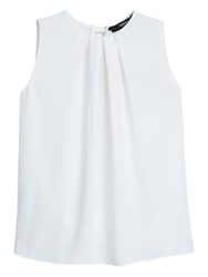 Mango Pintuck Pleat Sleeveless Top Natural White
