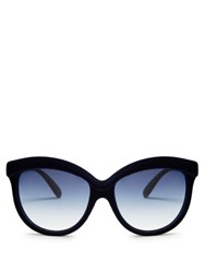 Italia Independent Velvet Coated Cat Eye Sunglasses Navy