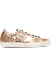 Golden Goose Deluxe Brand Super Star Distressed Glittered Leather Sneakers Gold