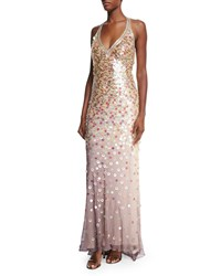 Sue Wong Allover Sequined Gown Champagne Taupe