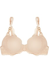 Stella Mccartney Smooth And Lace Stretch Crepe And Lace Contour Plunge Bra