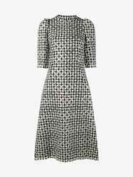 Dolce And Gabbana Virgin Wool Blend Houndstooth Polka Dot Dress Black White Silver Snow White