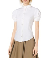 Michael Kors Twist Sleeve Stretch Cotton Blouse Optic White