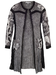 Chesca Patchwork Printed Coat Black Ivory