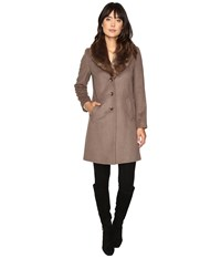 Lauren Ralph Lauren Shawl Collar Faux Fur Reefer Mink Women's Coat Brown