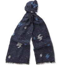 Boglioli Slubbed Cotton Blend Scarf Blue