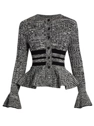 Alexander Mcqueen Peplum Hem Wool And Silk Blend Cardigan Black Multi