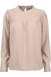 W118 By Walter Baker Anna Shirred Crepe Blouse Taupe
