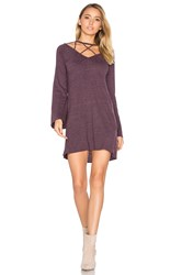 Chaser Bell Sleeve Strappy Mini Dress Purple