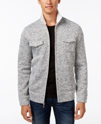 Tasso Elba Men's Zip Front Textured Jacket Only At Macy's Winter White Combo