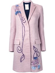 Roksanda Ilincic Embroidered Single Breasted Coat Pink And Purple