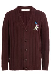 Golden Goose Virgin Wool Cardigan With Embroidered Detail Red