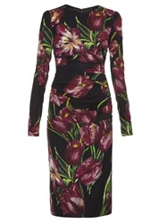 Dolce And Gabbana Tulip Print Ruched Dress Burgundy Multi