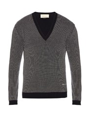 Gucci V Neck Wool Sweater Navy Multi