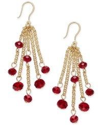 Charter Club Silver Tone Black Bead Fringe Earrings Only At Macy's Red