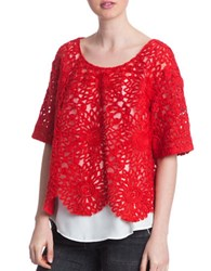 Plenty By Tracy Reese Ruby Lace Combo Top Red