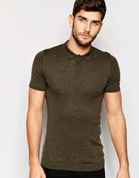Asos Muscle Fit Knitted Polo Shirt In Khaki Green