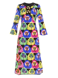 Giles Pansy Print And Embellished Dress