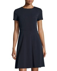 Tahari By Arthur S. Levine Short Sleeve Fit And Flare Dress Blue