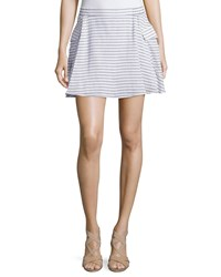 Bcbgmaxazria Striped Cotton Mini Skirt W Pockets Black White