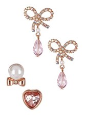 Betsey Johnson Pave Bow Briolette And Mismatched Stud Earrings Set Pink