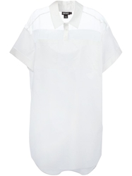 Dkny Sheer Yoke Shirt Dress White