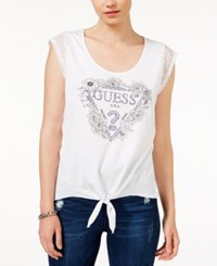 Guess Lace Trim Tie Front Logo T Shirt True White