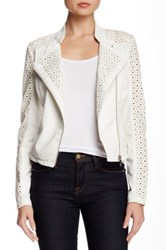 Steve Madden Perforated Sleeve Faux Leather Moto Jacket White