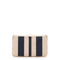 J.Crew Woven Striped Clutch Natural Navy