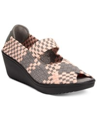Bare Traps Umma Mary Jane Wedge Sandals Women's Shoes Pink Grey Multi