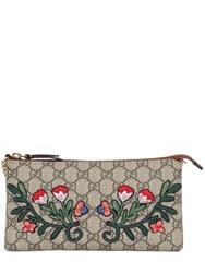 Gucci Floral Embroidered Gg Supreme Clutch Bag