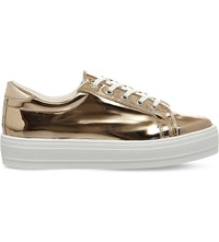 Office Diva Metallic Flatform Trainers Rose Gold