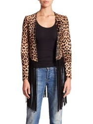 Theperfext Christy Leopard Print Calf Hair And Leather Fringe Jacket