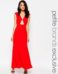 Jarlo Petite Maxi Dress With Front Keyhole Detail Red