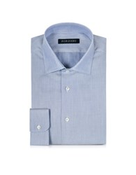 Forzieri White And Blue Woven Cotton Dress Shirt