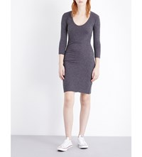 James Perse Scoop Neck Stretch Cotton Dress Heather Anthracite