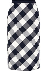 Oscar De La Renta Gingham Stretch Wool Blend Pencil Skirt Blue