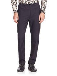 Msgm Cotton Side Striped Trousers Navy