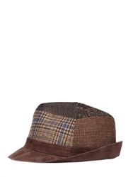 Etro Patchwork Wool And Suede Brimmed Hat