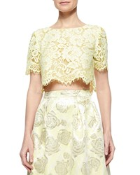Erin Fetherston Short Sleeve Lace Crop Top Lemongrass