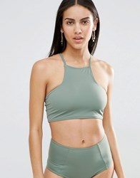 Missguided Mix And Match Cross Back Bikini Top Khaki Green